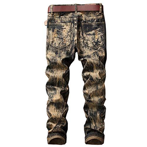 Pantalon Saisons Quatre Confortable Taille Jeans Moyenne Trou Myyw Droit Rétro Détresse 29 Hommes Broderie Mode Marée De En Usés La 0BnRqgZw