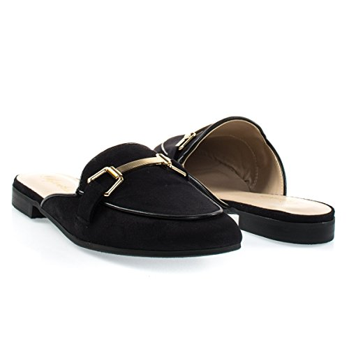 Paprika Damen Goldton Horsebit Hardware Rückenfrei Slip On Loafer Schwarzes Wildleder