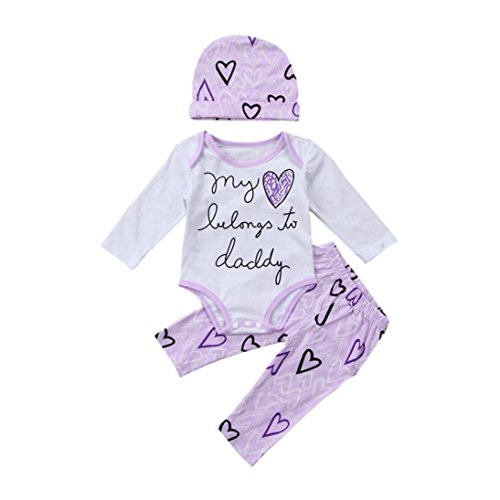 Blue Tuxedo Top Hat (Fheaven Baby Girl 3pcs Set Outfit my heart belongs to daddy Romper Pocket Top+ Heart Printed Pants +Hat (3-6M, White))