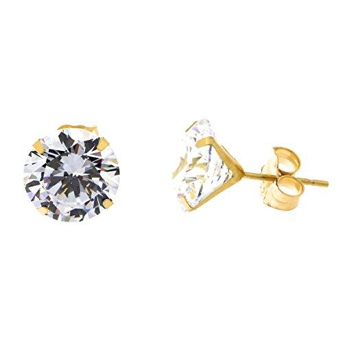 14k Yellow Gold Cubic Zirconia Stud Earrings, 8 Millimeters (4.08ctw)