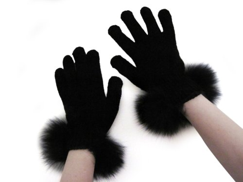 Fur Cuff Gloves - FursNewYork Women's Black Stretch Chenille Gloves with Black Fox Fur Trim