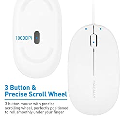Macally 3 Button USB 1000DPI Optical Wired Mouse with 5 foot cord, compatible with Mac and PC (ICEMOUSE2)