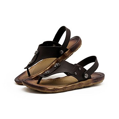 SHOES-XJIH&Donna pantofole & flip-flops Estate Peep toe PU Casual tacco piatto altri Nero / Giallo / Bianco / Oro altri,Black,US8 / EU39 / UK6 / CN39