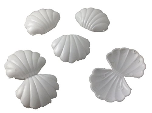 144 mini White Plastic Shells Candy Favor Boxes for showers and birthdays