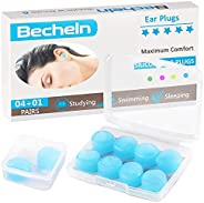 Reusable Silicone Ear Plugs, Waterproof Noise Cancelling EarPlugs for Sleeping, Shooting, Airplanes, Concerts,