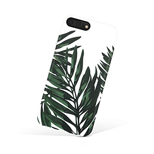 iPhone 8 Plus/iPhone 7 Plus case for Girls, Akna Collection Flexible Silicon Cover for Both iPhone 7 Plus & 8 Plus [Green Trendy Leaves](648-U.S) - Leaf Green Rim