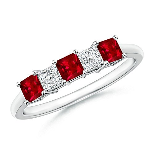 Diamond Cluster and Three Stone Square Natural Ruby Ring for Women in 14K White Gold (3mm Ruby)