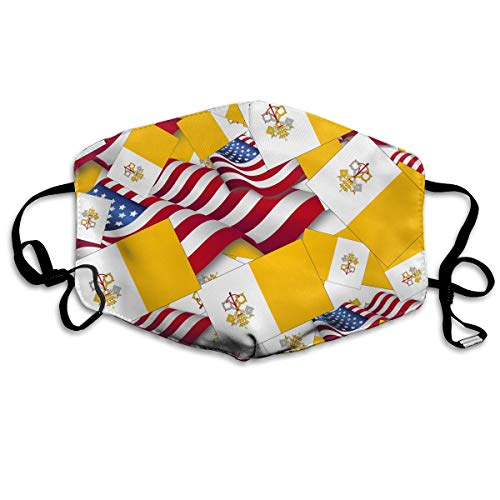 (KUYTZDCUTE Vatican City Flag with America Flag Mouth Mask Dust Face Mask Washed Reusable Outdoor Activities Windproof 7 X 4.3)