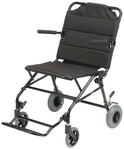 Karman Healthcare KMTV10B18B Ultra Lightweight Travel Chair with Flip Up Arms, Black, 18 Inches Seat Width
