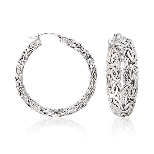 Large Hoops Silver Textured - Ross-Simons Sterling Silver Medium Byzantine Hoop Earrings