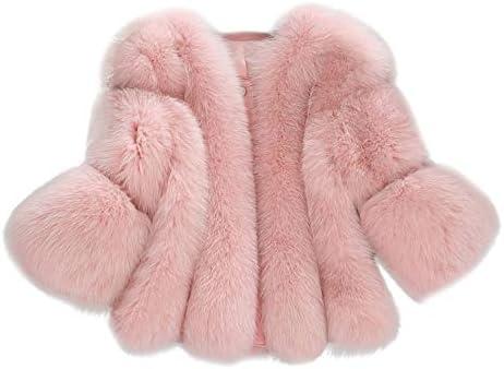 Whear Women Plush Coat Luxury Faux Fur Coat Slim Long Sleeve Collar Short Overcoat Winter Jacket Outwear