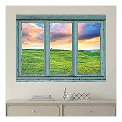 Pastel Sunset Over Green Rolling Hills - Spring farmland During a Sunset - Wall Mural, Removable Sticker, Home Decor - 36x48 inches
