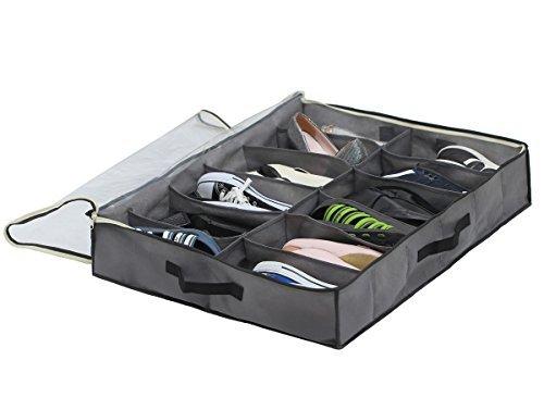 Sami Time 12 Pairs Under Bed Shoe Organizer Closet Storage Solution Organizer Box with Front Zippered Closure