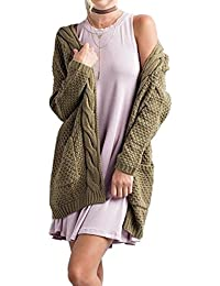Women's S-4XL Cable Knit Sweater Open Front Long Cardigans