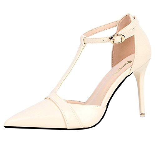 Azbro Mujer Zapatos de Estilete Bomba de Tacón Alto T-correa Puntera Punta Blanco
