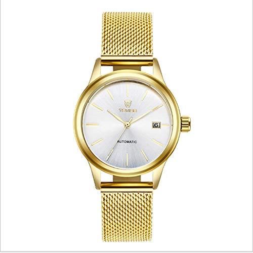 Relojes Mecánicos hombre, reloj de pulsera de acero inoxidable a prueba de agua, elegante