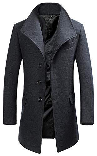 1 grau Elegante Adelina Largo Gabardina Otoño Abrigo Las Muj De Chaqueta Coat Lana anP4Fn7