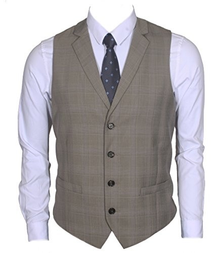 Ruth&Boaz Men's 2Pockets 4Buttons Business Tailored Collar Suit Vest (XXL, Glen Plaid Check Beige)