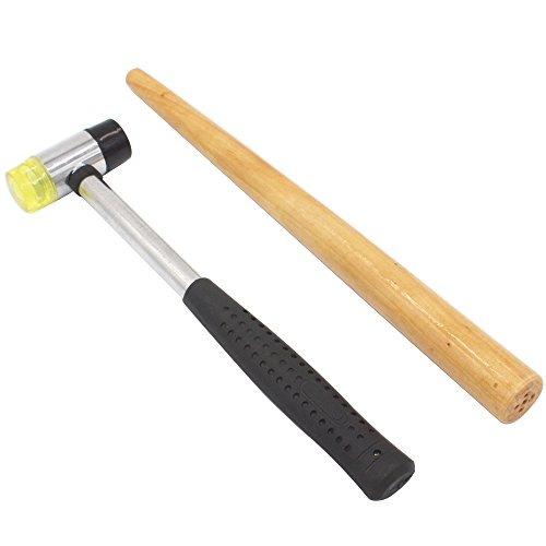 NIUPIKA Jewelers Rubber Hammer Mallet with Wood Ring Mandrel Sizer Sizing Adjuster Repair Tools Jewelry Making Kit