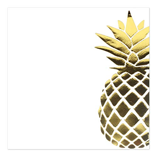 Andaz Press Gold Foil Lunch Napkins, Pineapple, 6.5-inch, 50-Pack, Paper Napkin Gold, Luau, Tropical Decor, Paper Napkin for Wedding, Kids Birthday Party, Graduation, Hawaiian Theme, Napkins in Bulk
