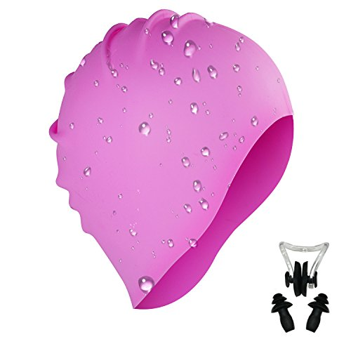 i-Summer Lightweight, Non-Toxic, Flexible And Resilient Silicone Swimming Cap Suitable for All Ages and All Hair Lengths, also Comes With Nose Clip And Ear Plugs - Caps Neoprene Swim