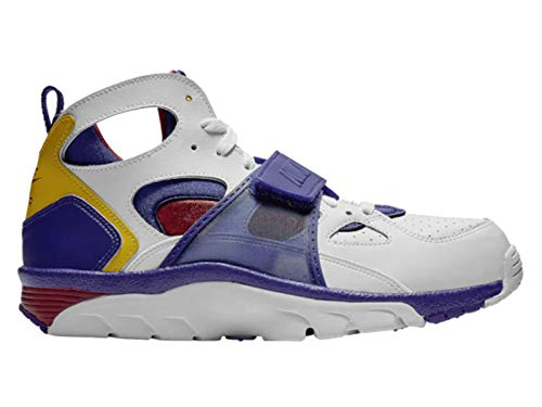 Nike Men's Air Trainer Huarache White/Regency Purple/Amarillo Leather Basketball Shoes 10.5 M US (Nike Mens Air Trainer Huarache)