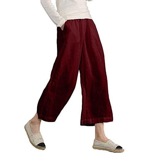 FarJing Women's Elastic Waist Pants Causal Loose Trousers Cropped Wide Leg Pants(M,Red - Detail Wide Leg Trousers