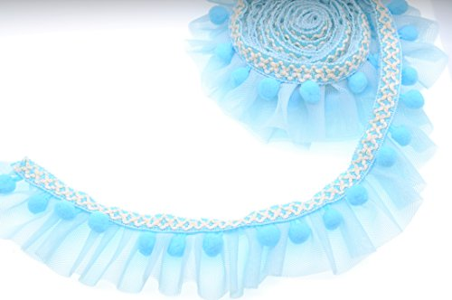 Marsha Q Double Layer Ruffled Lace Trim with Pom Pom Balls Trim Fringe Ribbon 5cm Wide 2 Yards for Garment Extender DIY Sewing Craft Children's Wear Pet Clothing Home Decoration (Baby Blue) (Blue Ruffled Lace)