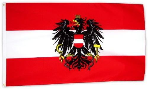 Fahne Flagge Österreich mit Wappen 90 x 150 cm