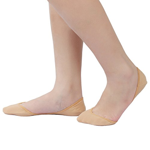 CAcB sox 3 pairs Women's Ultra Low Cut Socks w/Ball of foot Cushion & Silicone Grips (Cotton Foot Socks)