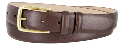 Andrea Genuine Italian Calfskin Leather Dress Belt for Women(Smooth Brown, 34)