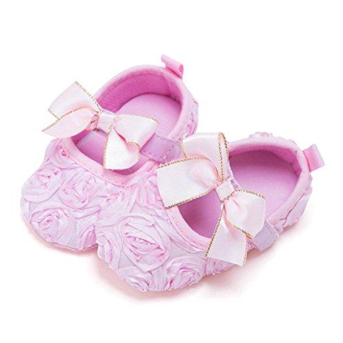 Tefamore Bebé recién nacido suave fondo antideslizante zapatos chica cuna Jane grandes zapatos de flores Rosado