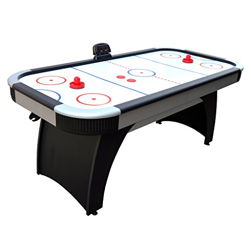 (Hathaway Silverstreak 6-Foot Air Hockey Game Table for Family Game Rooms with Electronic Scoring, Black)
