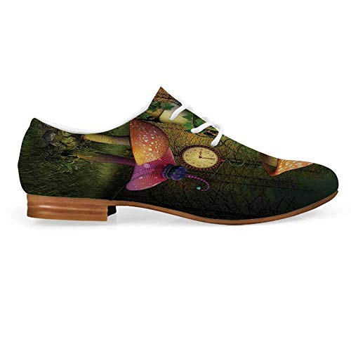 (Fantasy Decor Leather Oxfords Lace Up Shoes,Fiction Forest with Giant Mushrooms and Elves Magical Fairy Enchanted Image Bootie for Girls ladis Womens,US 9)