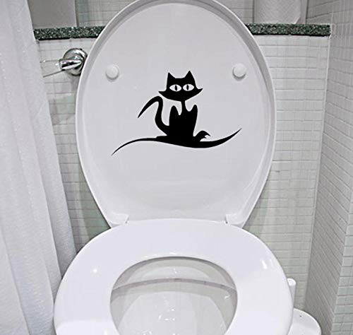 (Bathroom Wall Sticker 23.8x15.5CM Cartoon Cat Creepy Cute Swirl Toilet Sticker Home Decor Wall Decal )