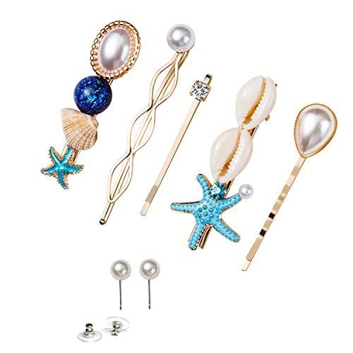 SENNI 6PCS Shell Hair Clip Pearl Earrings Starfish Hair Pins Set for Women Beach Vacation Hair Accessories (Style 1)