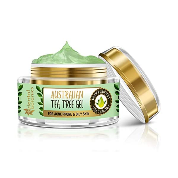 Oriental Botanics Australian Tea Tree Face Gel 50ml | Day or Night Cream For Acne Prone & Oily Skin, No SLS and Paraben… 2021 June Hydrated & soft skin – the fast-absorbing face gel supplies moisture to the skin without leaving behind a greasy film. The skin feels soft, supple, and refreshed Balanced & glowing – it helps to enhance the clarity and radiance of the skin. The moisture and ph balancing components of the gel help in reducing the excessive oiliness of the skin Calms the irritated skin – premium essential oils help in soothing and rejuvenating the skin stressed by exposure to the harsh environmental elements, sunlight, and pollution