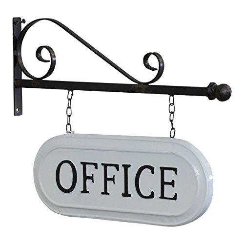 VIPSSCI Wall Mounted Bracket with Hanging White Metal Double Sided Office Sign with Black Lettering ()