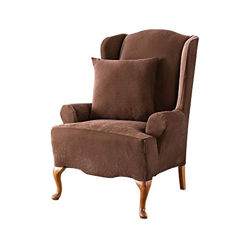 (SureFit Stretch Pique Knit - Wing Chair Slipcover - Chocolate)