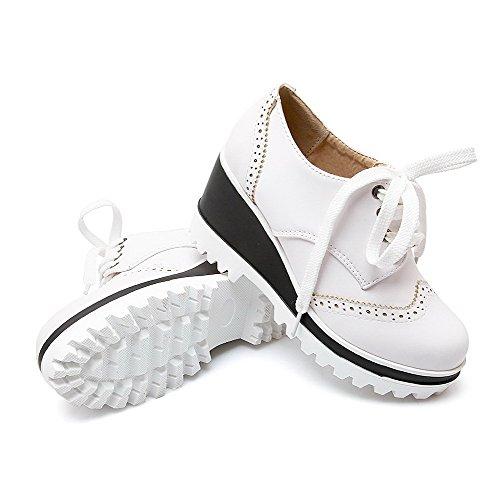 Chiuso Toe Di Bianche Tacchi Pompe Solido Donne Pizzo Elaborazione In Rotondo Alti scarpe Dell'unità Fino Allhqfashion Delle zUq48p
