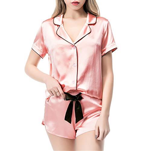 COLD POSH Women's 100% Silk Pajamas for Women Short Sleeve Top Shorts Button Down Sleepwear Pj Set Nightwear for Spring Summer,Luxury Gift,Pink,M
