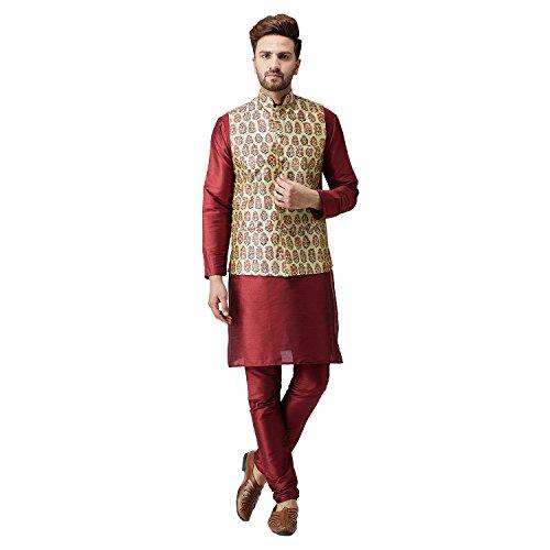 Sojanya (Since 1958), Men's Silk Kurta Churidaar Pyjama and Printed Nehru Jacket COMBO by Sojanya