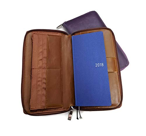 Hobonichi Weeks Cover 6 Ring Planner Faux Vegan Leather Compact Agenda Organizer Diary Zipped Around (Purple)