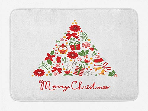 Merry Christmas Bath Mat, Tree Shape Xmas Items Flowers Bells Stockings, Plush Bathroom Decor Mat with Non Slip Backing, 23.6 W X 15.7 W Inches, Vermilion Pale Orange Fern Green White
