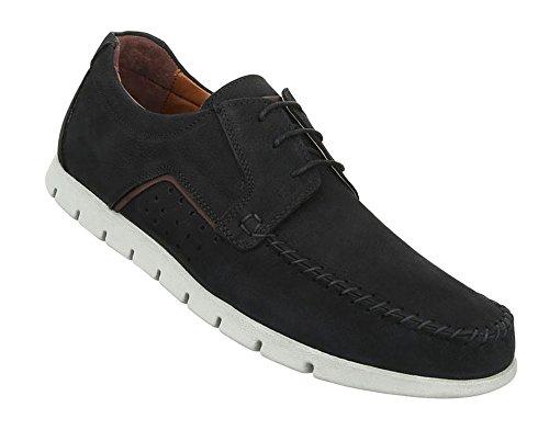 Herren Schuhe Halbschuhe Leder Slipper Modell Nr.3 Schwarz