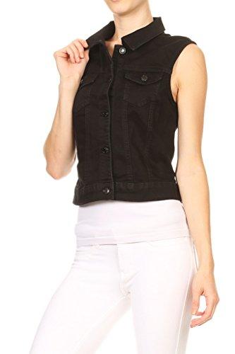 Wax Women's Classic Denim Vest w Flip Pockets (M, Black) (Cropped Denim Vest)