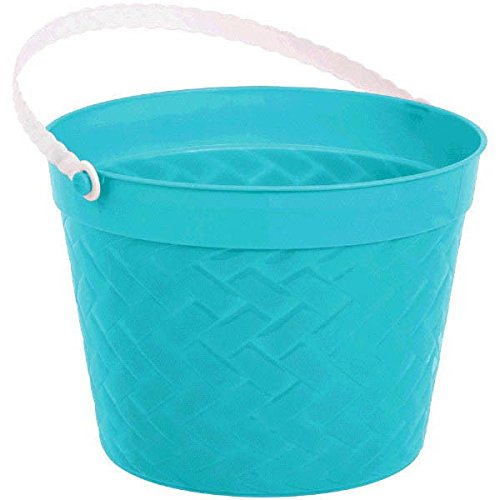 Amscan Egg-stra Special Easter Party Weave Design Bucket Favor, Aqua, 6