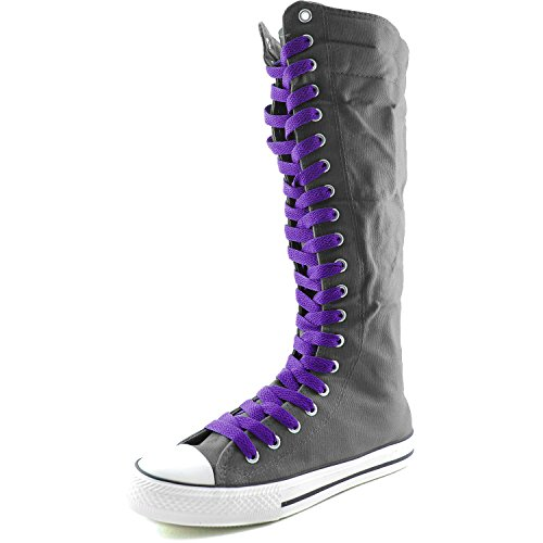 DailyShoes Womens Canvas Mid Calf Tall Boots Casual Sneaker Punk Flat, Grey Boots, Smokey Purple Lace