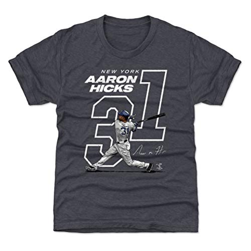 500 LEVEL Aaron Hicks New York Baseball Youth Shirt (Kids Medium (8Y), Tri Navy) - Aaron Hicks Offset W WHT