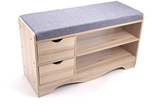 Drawer Leather Bench 2 - GJH One Shoe Storage Bench Seat Wooden Cabinet with Drawers 2 Level Entryway 31.5''x12''x17''